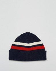 Asos Fisherman Beanie With Stripe Navy Blue