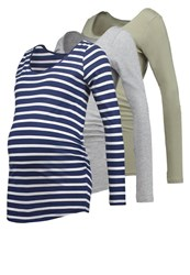 New Look 3 Pack Long Sleeved Top Khaki Grey Blue