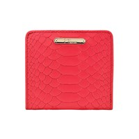 Graphic Image Mini Folding Wallet In Embossed Python Leather Poppy Plain