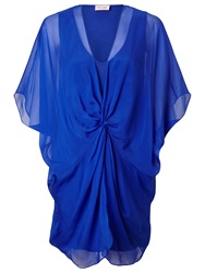 Phase Eight Cuban Knot Front Silk Tunic Top Duke Blue