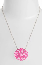 Women's Moon And Lola Medium Oval Personalized Monogram Pendant Necklace Hot Pink Gold Nordstrom Exclusive