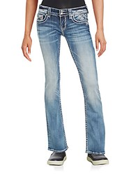Vigoss Faded Heavy Stitch Boot Cut Jeans Medium Wash
