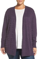 Sejour Plus Size Women's Eyelash Stripe Open Front Cardigan Purple Night
