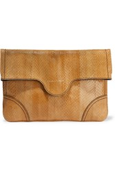 Alexander Mcqueen Snake Effect Leather Pouch Brown