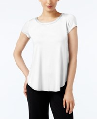 Alfani Petite Satin Trim High Low T Shirt Soft White