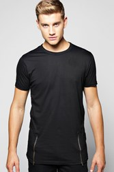 Boohoo Zip Detail T Shirt Black
