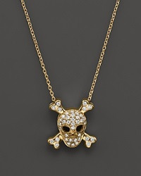 Roberto Coin 18K Yellow Gold Diamond Skull And Crossbones Pendant Necklace 16