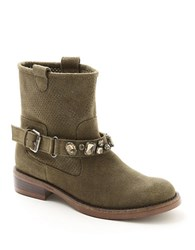 Kensie Squire Crystal Accented Perforated Suede Boots Olive