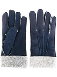 Canali Shearling Gloves Blue