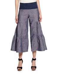Xcvi Cropped Tiered Denim Blue Palazzo Pants Women's