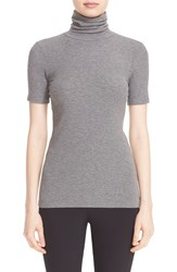 Theory Women's 'Naneik' Rib Knit Short Sleeve Turtleneck Mid Grey Melange