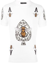 Dolce And Gabbana Bee Crown Print T Shirt White