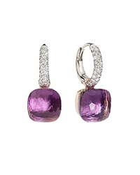 Pomellato Nudo Earrings With Amethyst And Diamonds In 18K White And Rose Gold Purple Gold