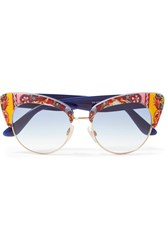 Dolce And Gabbana Cat Eye Printed Acetate Gold Tone Sunglasses Navy