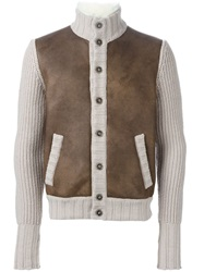 Barba Panelled Button Cardigan Brown