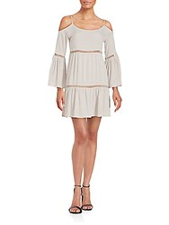 Cirana Cold Shoulder Crochet Detail Dress Cement