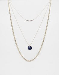 Oasis Etched Disc Long Multirow Necklace Gold