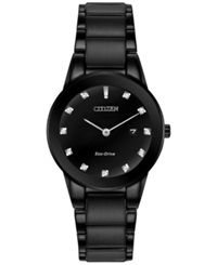 Citizen Women's Eco Drive Axiom Diamond Accent Black Ion Plated Stainless Steel Bracelet Watch 30Mm Ga1055 57G A Macy's Exclusive