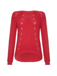 Yumi Cable Knit Chunky Jumper Red