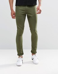 Asos Super Skinny Jeans In Green Thyme
