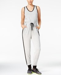 Material Girl Active Juniors' Racerback Jumpsuit Only At Macy's Grey Black