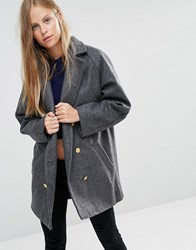 Ganni Malin Wool Double Breasted Pea Coat Smoked Pearl Melange White