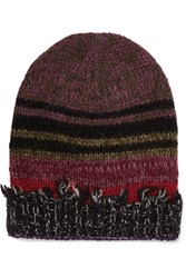 Etro Striped Frayed Wool Blend Beanie Purple
