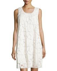 Max Studio Sleeveless Floral Lace Pleated Swing Dress Ivory