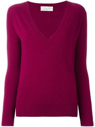 Zanone V Neck Jumper Pink Purple