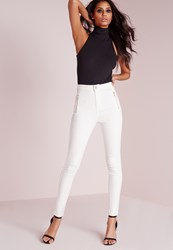 Missguided High Waisted Zipped Super Stretch Skinny Jeans White White