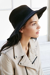 Lovely Bird Suede Bohemian Panama Hat Black