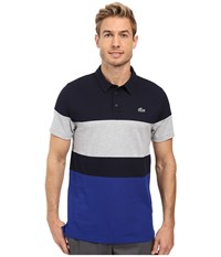 Lacoste Golf Short Sleeve Color Block Pique Ultra Dry Navy Blue France Silver Chine Men's Clothing Multi