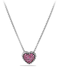 Heart Pendant Necklace With Pink Sapphire David Yurman Blue
