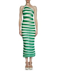 Stella Mccartney One Shoulder Transparent Striped Long Dress Lily Green Lily Grn Trnsprnt