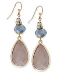 Inc International Concepts Gold Tone Mauve And Gray Stone Teardrop Drop Earrings Only At Macy's Grey Pink