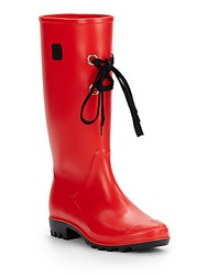 Dav Lace Up Rain Boots Red
