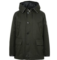 Sandro Cotton Hooded Parka Dark Green