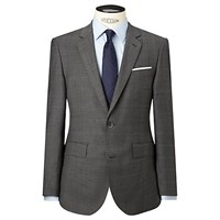 Hackett London Super 120S Wool Prince Of Wales Check Tailored Suit Jacket Grey Multi