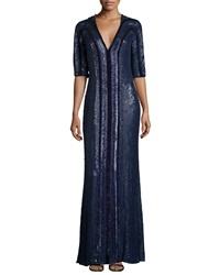 Jenny Packham Sequined V Neck Half Sleeve Gown Blue