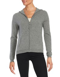 Lord And Taylor Hooded Zip Up Cashmere Sweater Pewter Heather