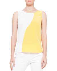 Akris Punto Wavy Colorblock Sleeveless Blouse Soleil Creme