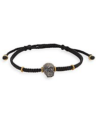 Jan Leslie Beaded Skull Charm Threader Bracelet Two Tone No Color