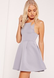 Missguided Double Strap Bonded Scuba Skater Dress Grey