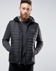 Timberland Lightweight Hooded Down Vest In Blue Black