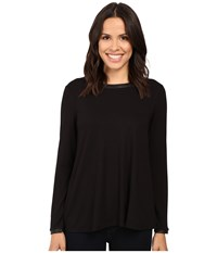 Three Dots Leather Trim A Line Tee Black Women's Clothing