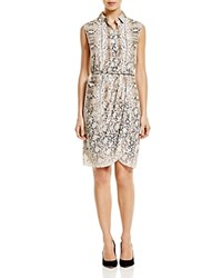 Magaschoni Animal Faux Wrap Shirt Dress Snake Lace