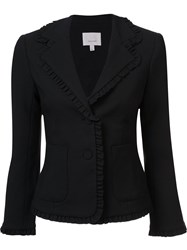Cinq A Sept Ruffle Trim Blazer Black