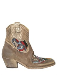 Elena Iachi 50Mm Suede And Snake Effect Ankle Boots