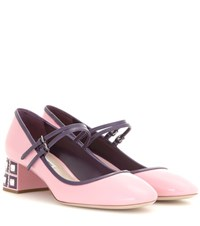 Miu Miu Embellished Mary Jane Patent Leather Pumps Pink