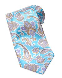 Stefano Ricci Paisley Silk Tie Light Blue